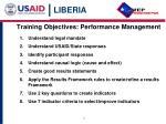 training objectives performance management
