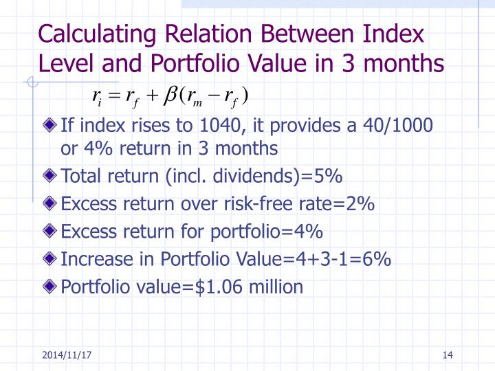 Calculating Relation Between Index Level and Portfolio Value in 3 months