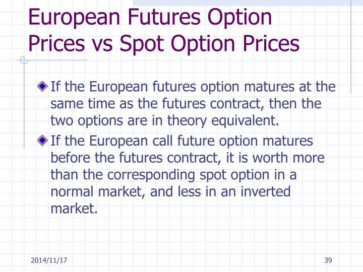European Futures Option Prices vs Spot Option Prices