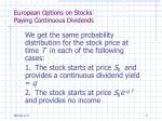 european options on stocks paying continuous dividends