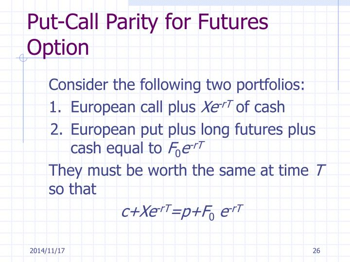 Put-Call Parity for Futures Option