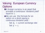 valuing european currency options