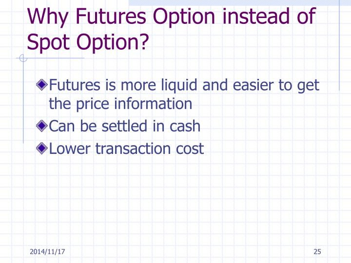 Why Futures Option instead of Spot Option?