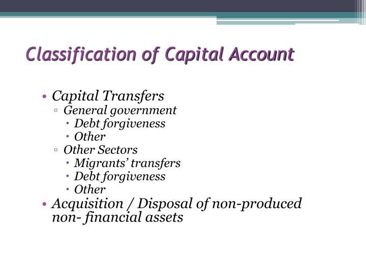 Classification of Capital Account