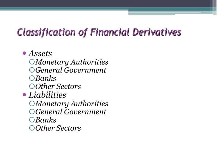 Classification of Financial Derivatives