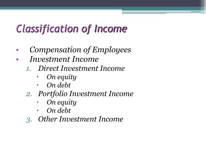 Classification of Income