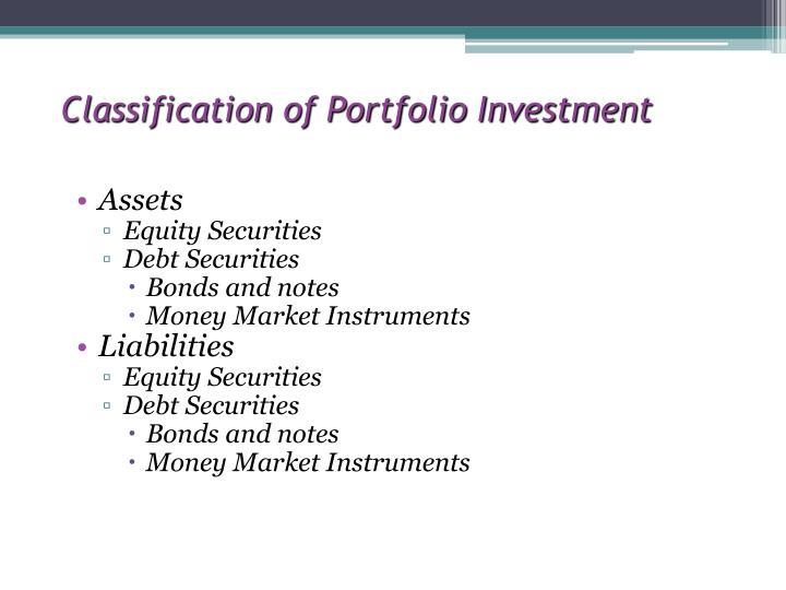 Classification of Portfolio Investment