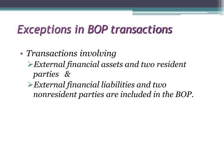 Exceptions in BOP transactions