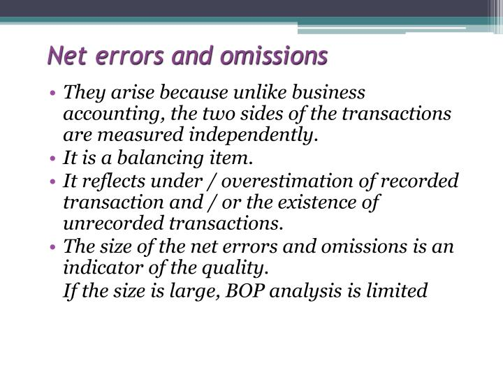 Net errors and omissions
