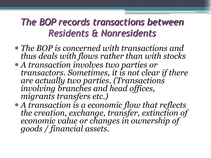 The BOP records transactions between Residents & Nonresidents