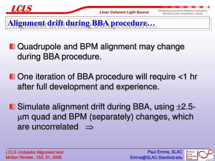 Alignment drift during BBA procedure…