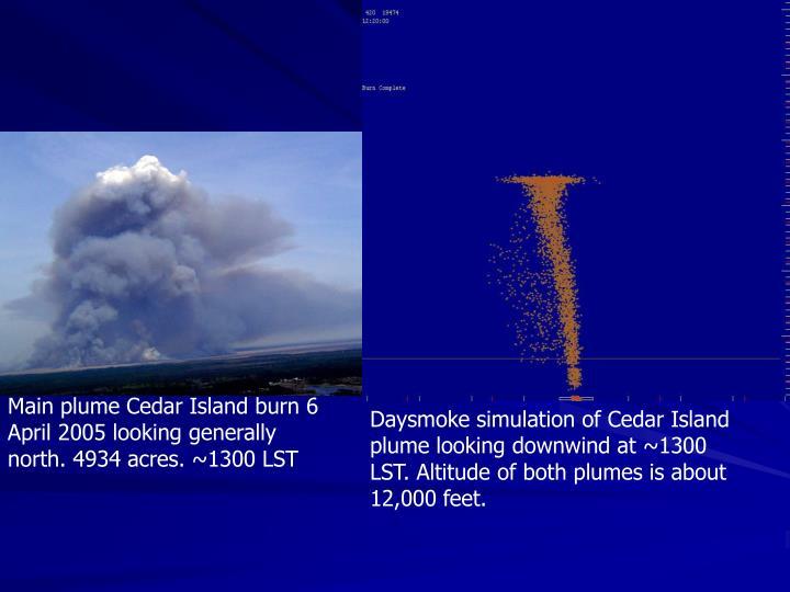 Main plume Cedar Island burn 6 April 2005 looking generally north. 4934 acres. ~1300 LST