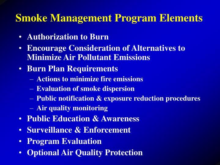 Smoke Management Program Elements