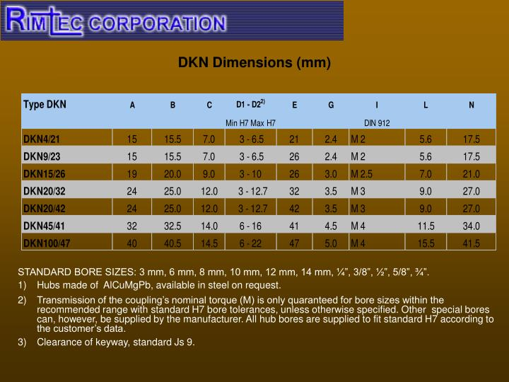 DKN Dimensions (mm)