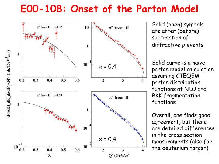 E00-108: Onset of the Parton Model