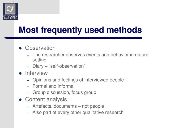 Most frequently used methods