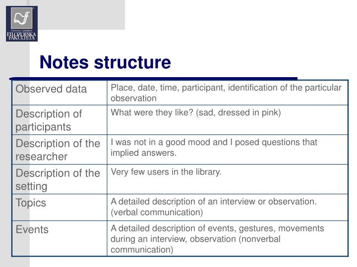 Notes structure