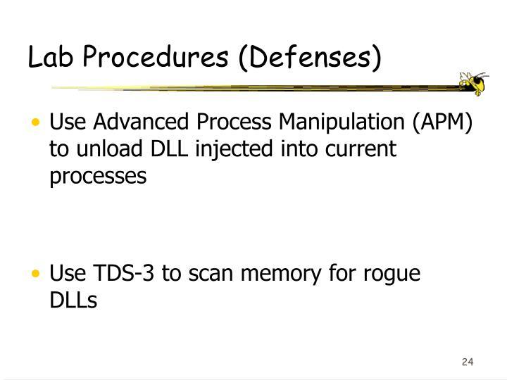 Lab Procedures (Defenses)