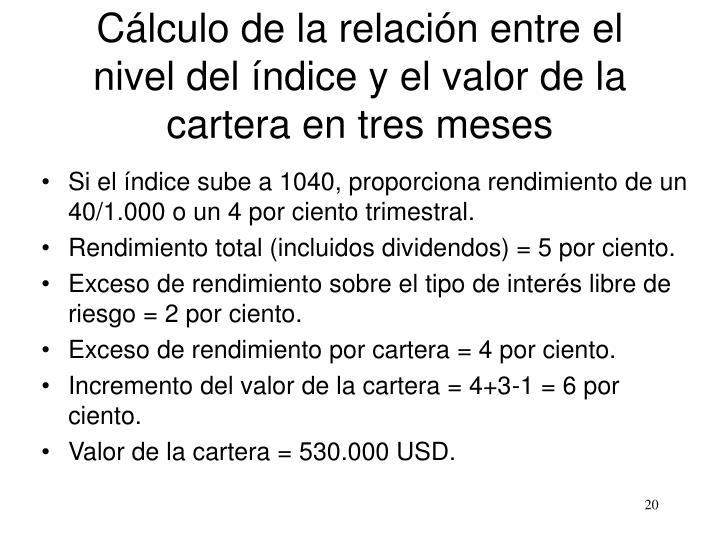 Cálculo de la relación entre el nivel del índice y el valor de la cartera en tres meses