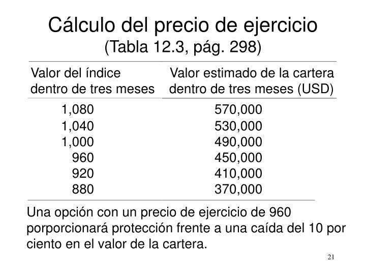 Cálculo del precio de ejercicio