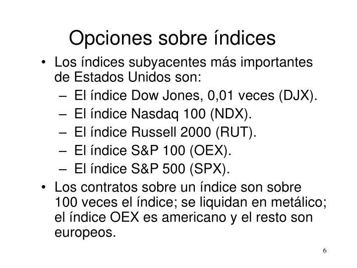 Opciones sobre índices