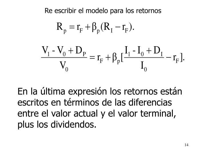 Re escribir el modelo para los retornos