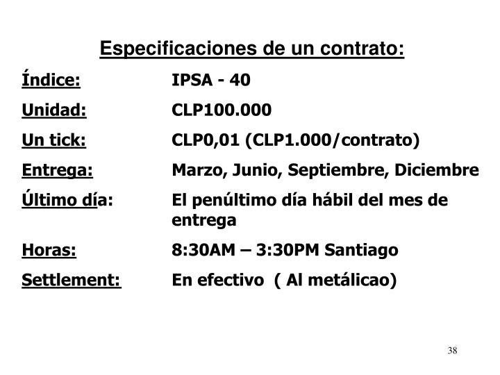 Especificaciones de un contrato: