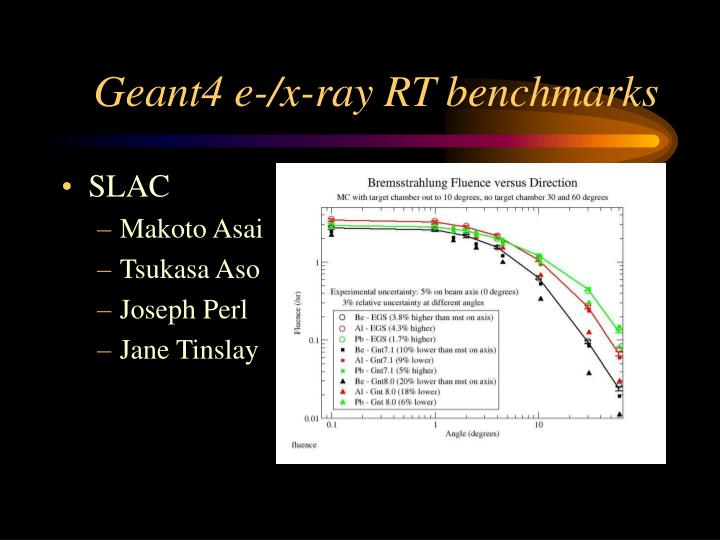 Geant4 e-/x-ray RT benchmarks