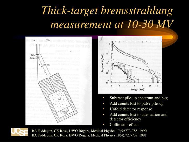 Thick-target bremsstrahlung measurement at 10-30 MV