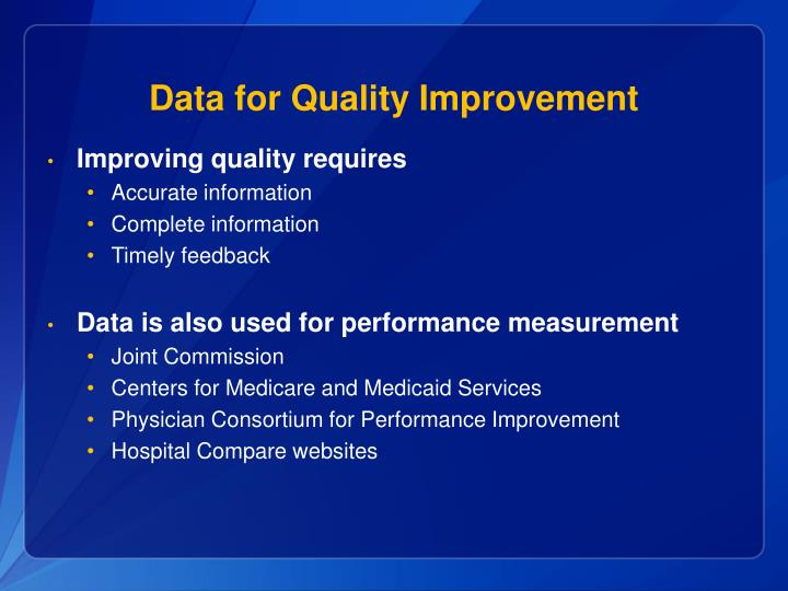 Data for Quality Improvement