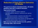 reduction of early elective deliveries 39 weeks