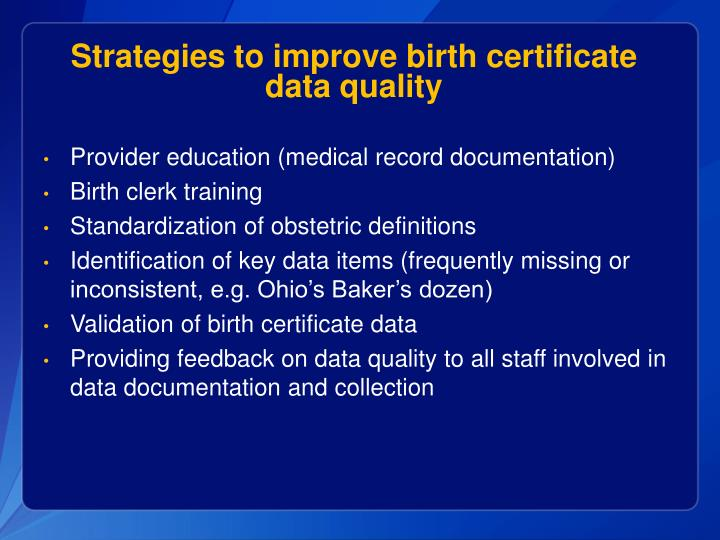 Strategies to improve birth certificate data quality