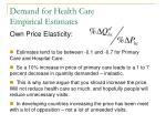 demand for health care empirical estimates