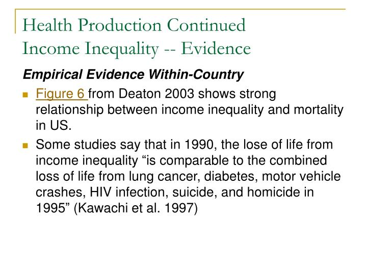 Health Production Continued