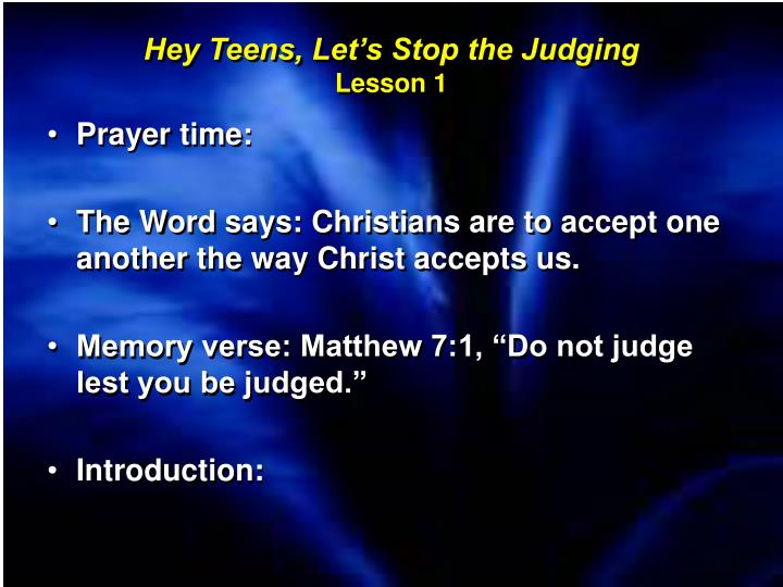 Hey Teens, Let's Stop the Judging