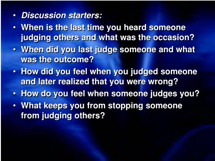 Discussion starters: