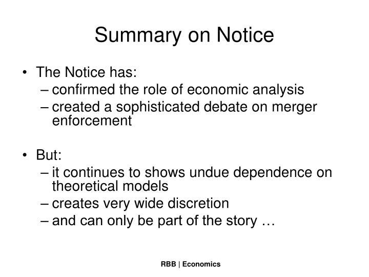 Summary on Notice
