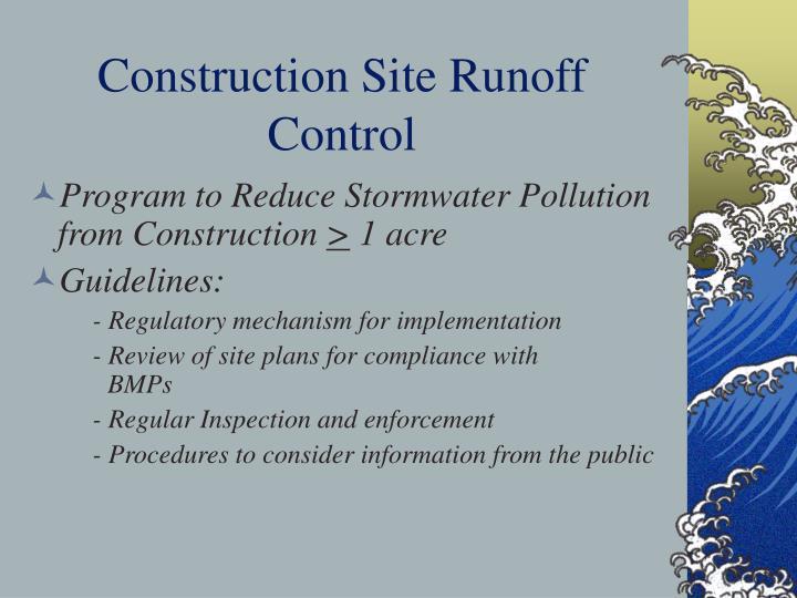 Construction Site Runoff Control