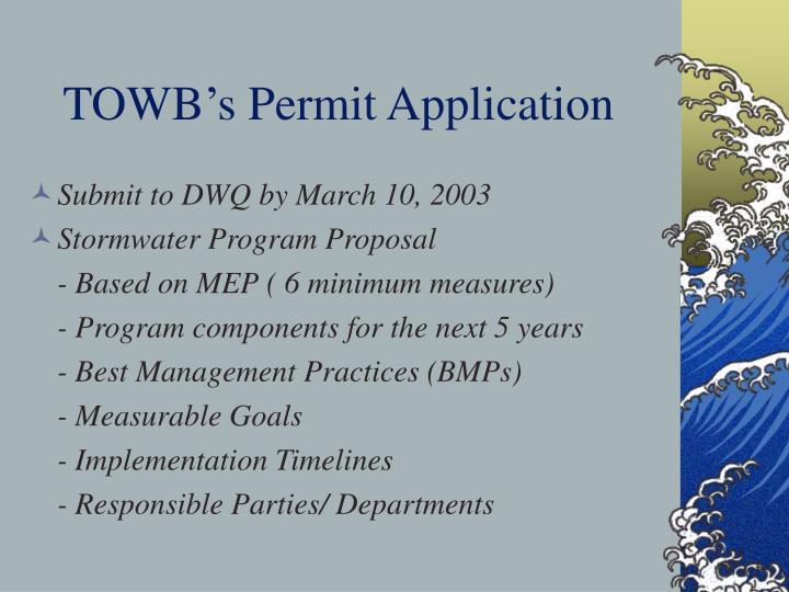 TOWB's Permit Application