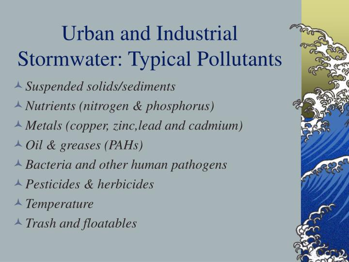 Urban and Industrial Stormwater: Typical Pollutants