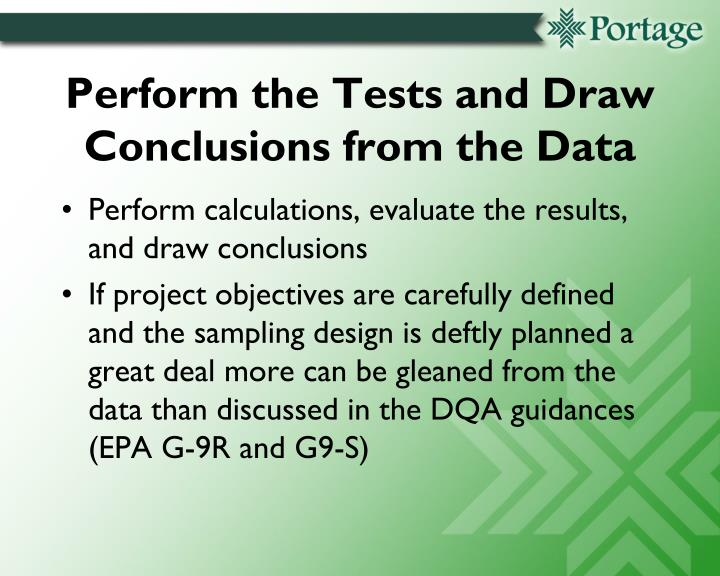 Perform the Tests and Draw Conclusions from the Data