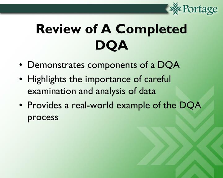 Review of A Completed DQA