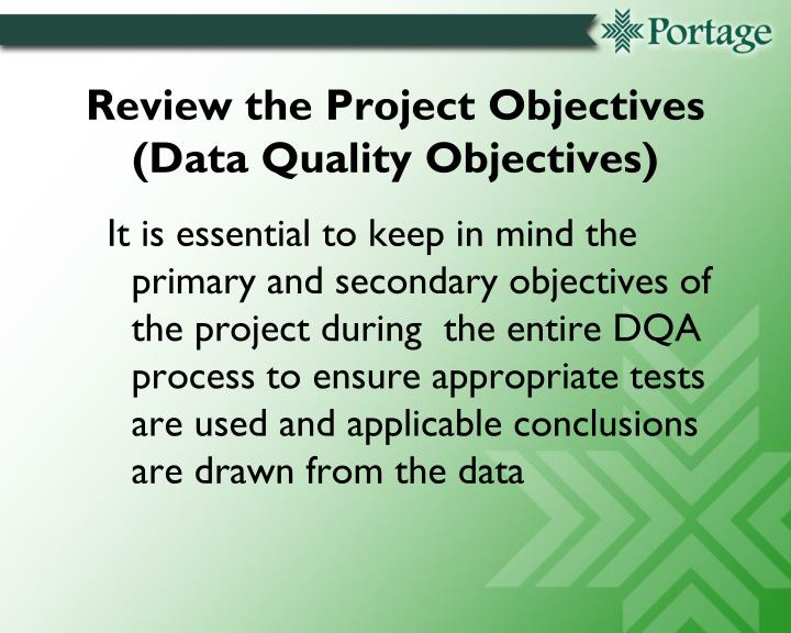 Review the Project Objectives (Data Quality Objectives)