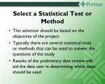 select a statistical test or method