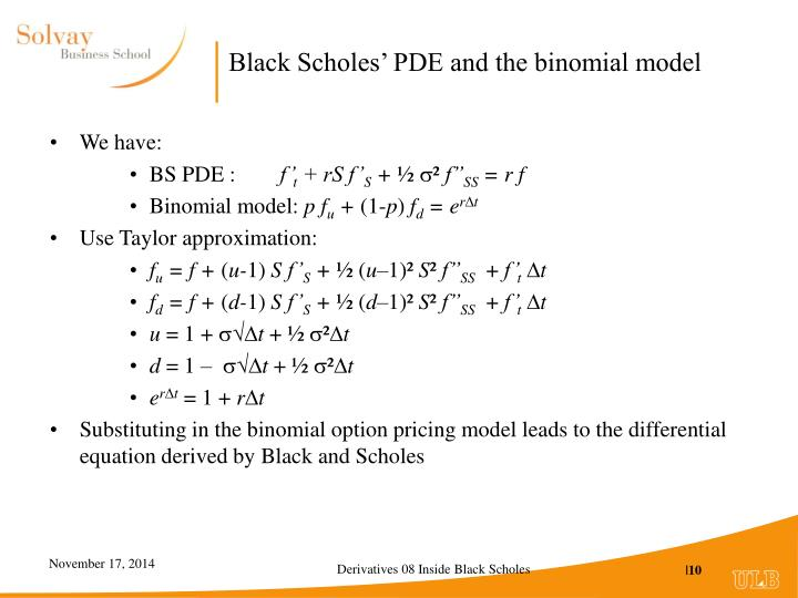 Black Scholes' PDE and the binomial model