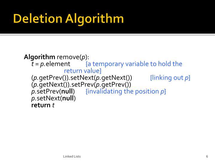 Deletion Algorithm