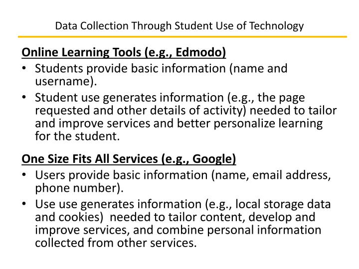 Data Collection Through Student Use of Technology