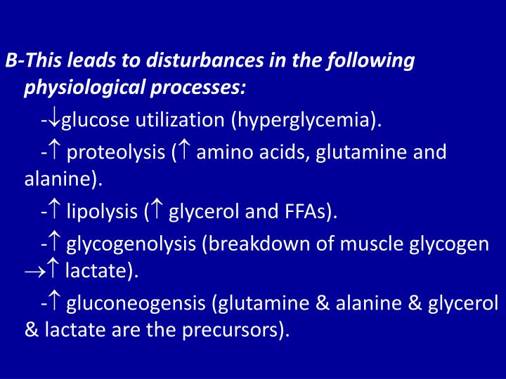 B-This leads to disturbances in the following physiological processes: