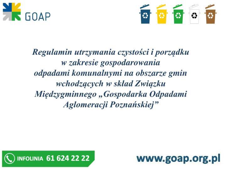 Regulamin utrzymania czystości i porządku w zakresie gospodarowania