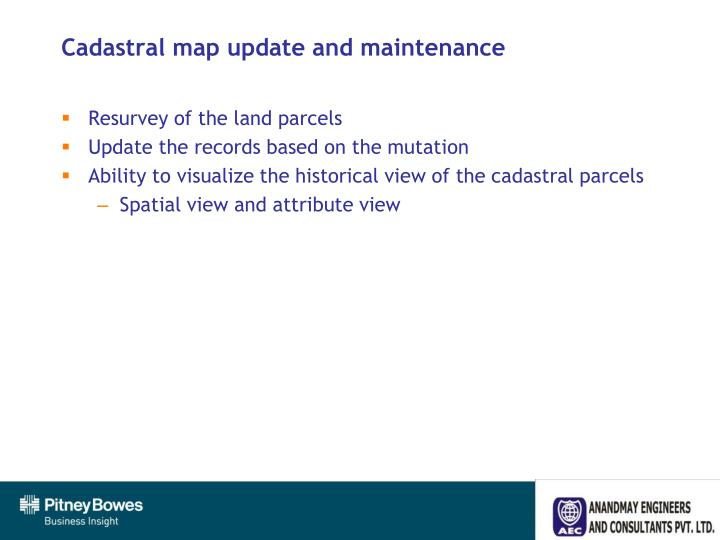 Cadastral map update and maintenance